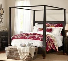Cruz Ikat Reversible Quilt & Sham   Pottery Barn-MOM here is the bed with the quilt.