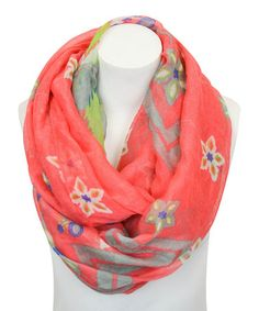 Love this Coral Ikat Infinity Scarf by Leto Collection on #zulily! #zulilyfinds