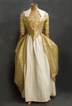 French brocaded silk taffeta open robe, 1780s.