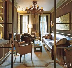 interior, studio sofield, studios, leather sofas, decorating blogs, sliding glass doors, sitting rooms, den, wood walls
