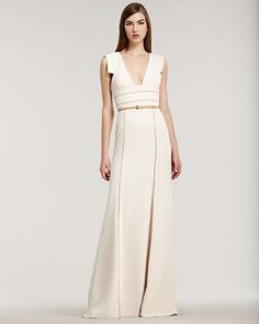 white gown// Stretch Crepe Cap-Sleeve Gown by Elie Saab at Bergdorf Goodman.