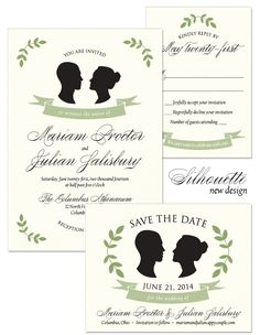 Silhouette Wedding Invitation, Reply and Save the Date