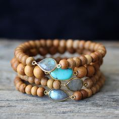 Sandalwood Boho Bracelets, Labradorite Turquoise 14K Gold Vermeil Fragrant Wood Stacking Bracelet, Beadwork Beach Jewelry, Ocean Sky Blue