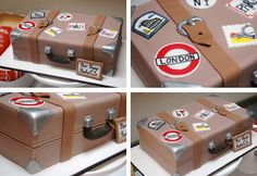 A british themed farewell party a Suitcase cake!