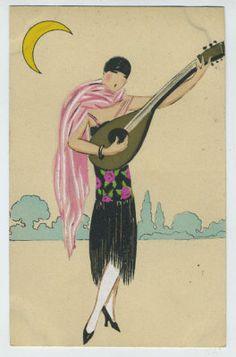 Art dECO Flapper Moon Guitar Music old 1920s postcard