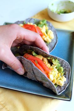 Blue Corn Breakfast Tacos with Scrambled Eggs, Smoked Salmon, Avocado, + Dill