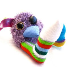 Handmade Purple Funny Alien Bird Plush Stuffed by Fuffalumps