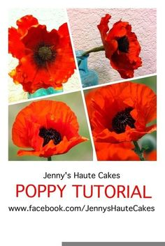 Poppy Tutorial #1: How to Make a Gum Paste Poppy (using heart shaped cutters) - by Jenny Kennedy @ CakesDecor.com - cake decorating website