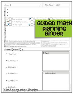 Guided math planning template.  great ideas/information on her site regarding guided math groups