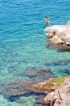 The Adriatic - bluest water in the world, Trsteno beach in Croatia