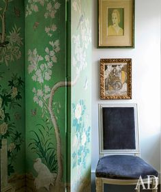 green chinoiserie folding screen.