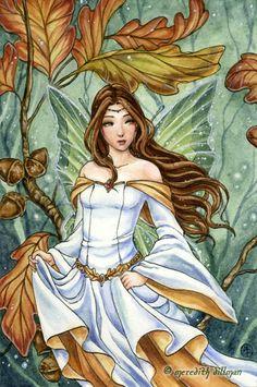 Oak Fairy-fairy art, fantasy art, fairy print, oak, fairy, green, forest, medieval, brunette, girl, watercolor, illustration, meredith dillman
