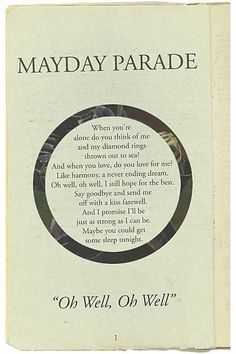 Mayday Parade - Oh Well, Oh Well