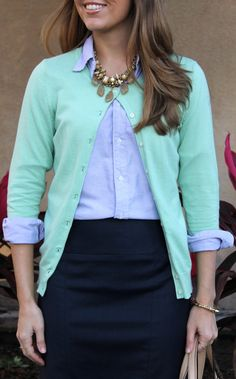 Like J's combination of colors. Would not have thought to put together mint and blue and navy, but it looks fresh and chic.  Great necklace too!