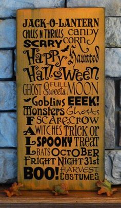 Vintage Halloween Sign: Painted Wood