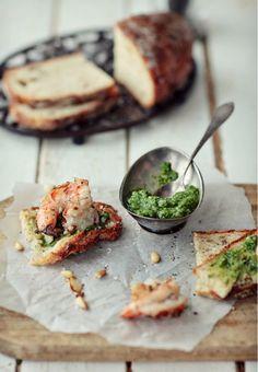 shrimp + pesto toasts