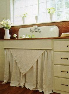 Love the farmhouse sink, and the burlap skirt (inspiration) *******************************************     (repin) - #shabby #chic #home #decor #kitchen #farmhouse #cottage #sink - ≈√