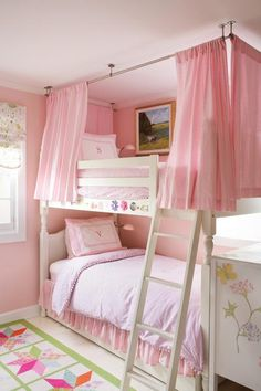 curtains, idea, curtain rods, bunk beds, girl bedrooms, childs bedroom, bedroom designs, kid, girl rooms