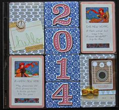 My Scrapbook Evolution- 2014 title page using JBS Mercantile kits by Christy Strickler