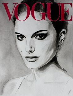 Vogue Magazine Cover. Natalie Portman. Fashion Illustration Art Print