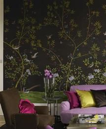 amazing color combination - chinoiserie mural on silk for wall