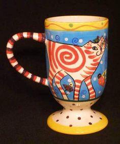 Mug Dana Simson Whimsical Cat Handpainted Collector Cup   http://stores.ebay.com/beachcats-bargains  beachcats bargains