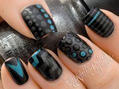 Rockabilly Nail Art ♥ Mixed Prints Nail Art nail polish, nail art designs, nail designs, mixed prints, black nails, nail arts, grey, blues, dot