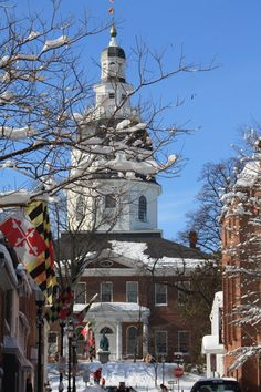 Our beautiful Maryland Flag lining the streets of Annapolis in the snow. No place like home :) http://themarylandstore.com/category/MARYLAND-FLAGS.html