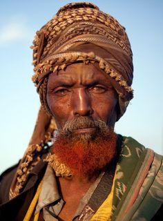 Henna beard. Typical Somali elder.