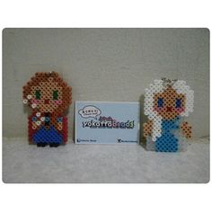 Anna and Elsa - Frozen perler beads by yokattabeads