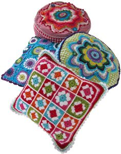 Crochet pillows in bright colors.