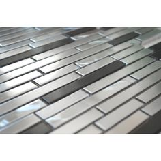 Thin Stainless Brick Mosaic - Silver And Black