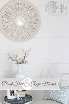 Paint stick and rope mirror