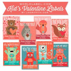Free printable Kids adorable Valentines Day Labels by @lia griffith