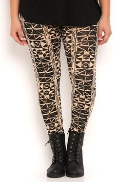 Deb Shops Plus Size Leggings with Aztec Print $10.00