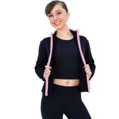 Chloe Noel J48 Black/Pink Fitted Fleece Skate Jacket with Color Zipper - Child Large