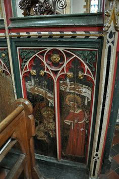 """15th century screen given by Cardinal Wolsey at the Bloxham Parish Church of Our Lady, Oxfordshire. """"It was under Royal patronage until 1547. 14th and 15th century tracery embellishes the windows and the vivid imagination of the 14th century 'Banbury carvers' creates a wonderful bestiary of grotesque and comic scenes."""""""