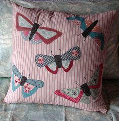 All a Flutter, pillow with butterfly appliqués