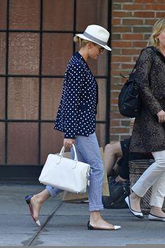Diane Kruger dressed down this time in a delightful blue polka dot blazer