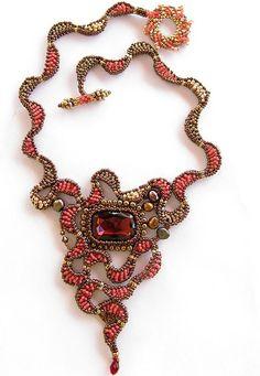 Red Dragon Eye necklace by Cielo Design, via Flickr eye necklac, dragons, beadwork, dragon eye, cielo design, bead cielo, necklaces, red dragon necklace, eyes