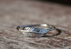 Feather ring  Sterling silver by ArmoredJewelry on Etsy, $30.00