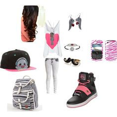 """How cute is this """"school swag #1"""" set by swaggmystyle on Polyvore? We love the 'stache ring and, of course, our Harmony medical ID bracelet! #medical_ID #bracelet #school #style #teens #tweens #jewelry #polyvore #pin #set #fashion #accessories #backpack #blackberry #T1D #epilepsy #diabetes #ADD #ADHD #food_allergies"""