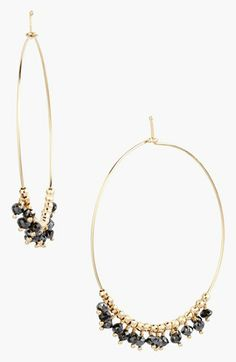 This would be pretty easy to do with beads..... Black Diamond Hoop Earrings | Nordstrom