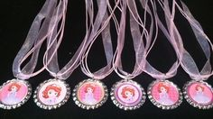SIX sofia the first party favor necklaces SOFIA the FIRST ribbon necklaces. $14.50, via Etsy.