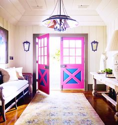 pink and cobalt accent doors.