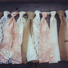 Pure Innocence - Cottage Pink, Burlap & Lace Rag Tie Garland. $25.00, via Etsy.