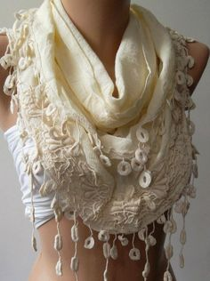 Beige  Elegance Shawl / Scarf with Lace Edge Linen Soft by womann, $19.90