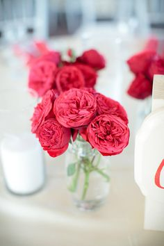 bright red english garden roses  Photography by theomilophotography.com, Planning, Floral and Event Design by kickstandevents.com english roses, wedding photography, galleri, centerpiec, wedding flowers, rose wedding, red roses, mason jars, garden