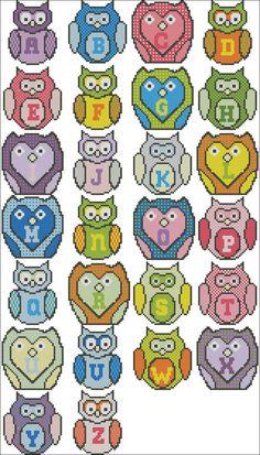 Owl Cross Stitch Alphabet Pattern
