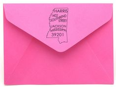 Personalized State Return Address Stamp on BourbonandBoots.com #mississippi